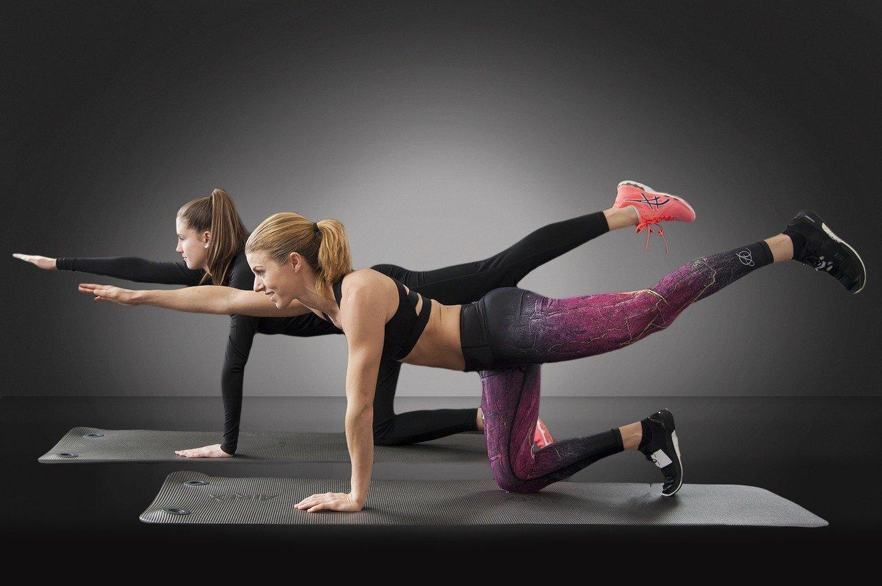 Dve devojke koje rade fitnes trening